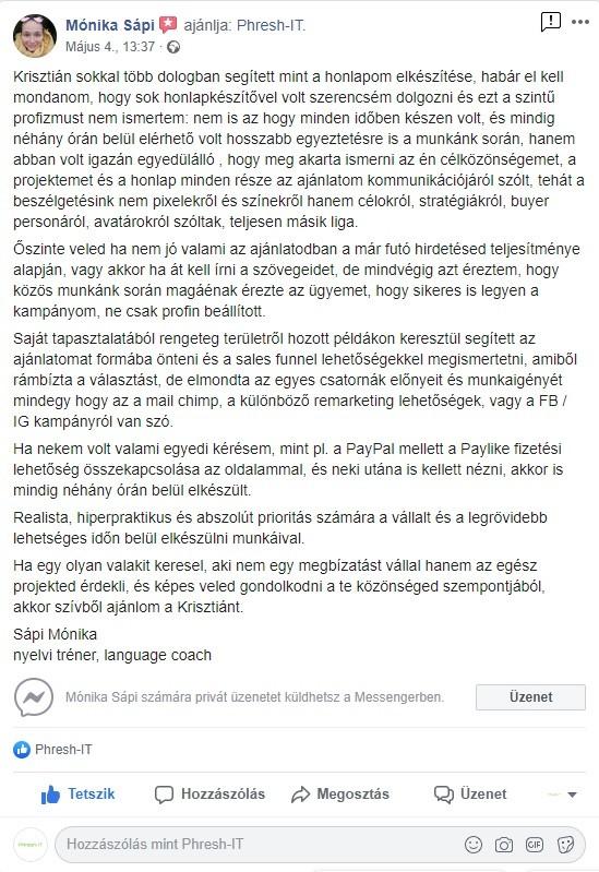 Facebook ajánlás - Englishblueprint